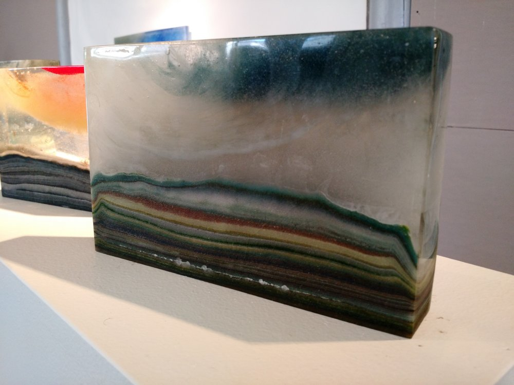 Windsweep  Kiln cast glass, glass sediment  4 ¾ x 7 ½ x 1 ¾ inches  SOLD