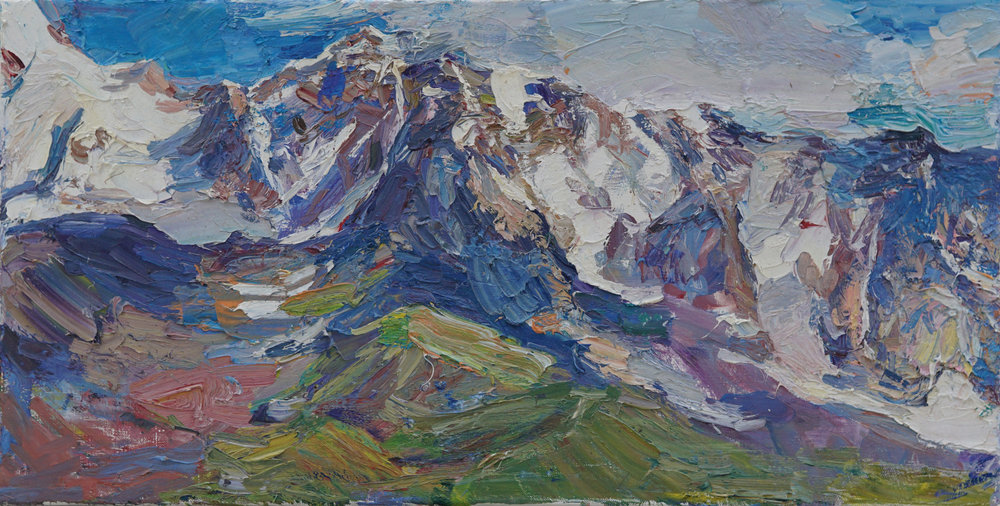 Shrahra Mountain, Georgia,   13 3 4 x 27 1 4,  Oil,Linen.jpg