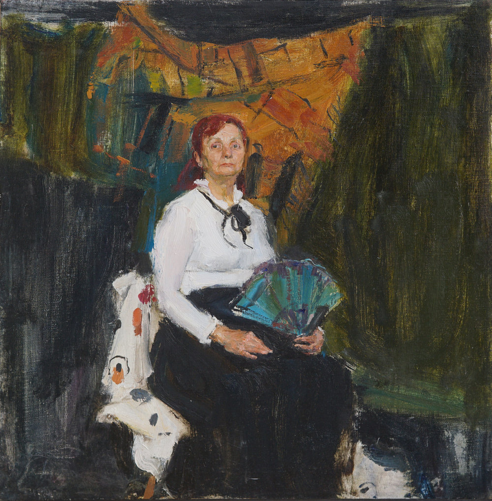 Lady with a fan,  23 2 3 x 22 1 2, Oil,Linen.jpg