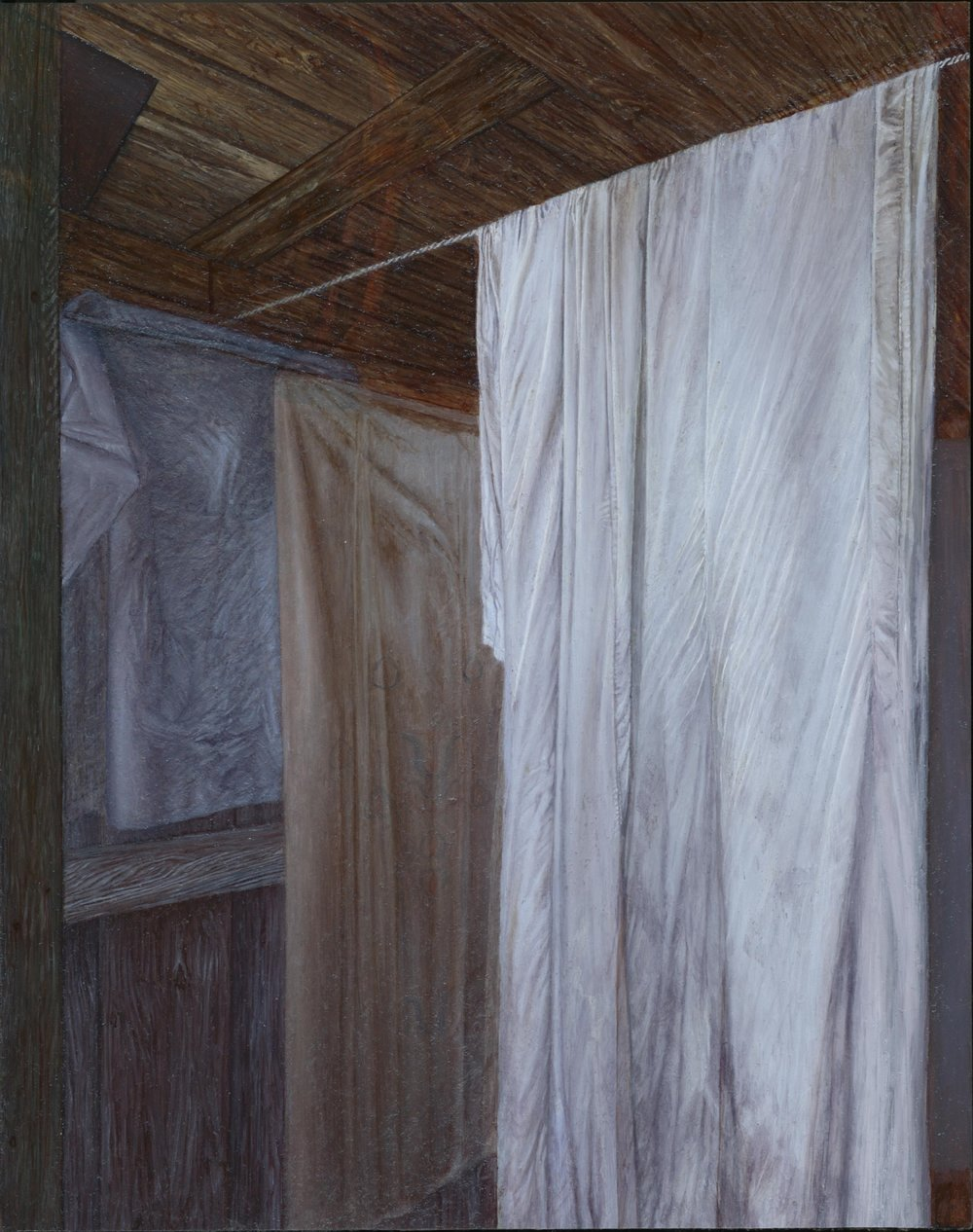 """Dacha (Shower)  2014 Oil on Mylar mounted to panel  10"""" x 8""""  $4,000"""