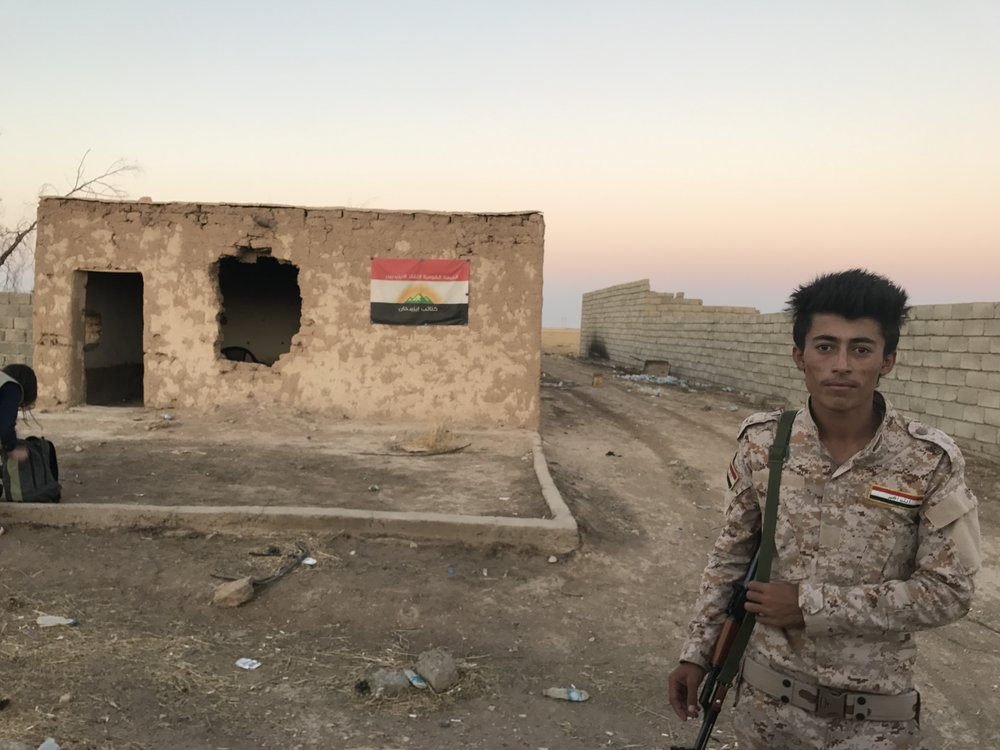 Young   Yazidi Soldier at Sunset -- Sinjar