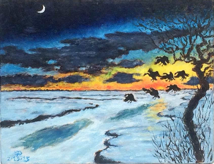2015-0215-JP Powel-Geese-Landing on Frozen Marsh-oil on panel-9h x 11.25w-w.jpg