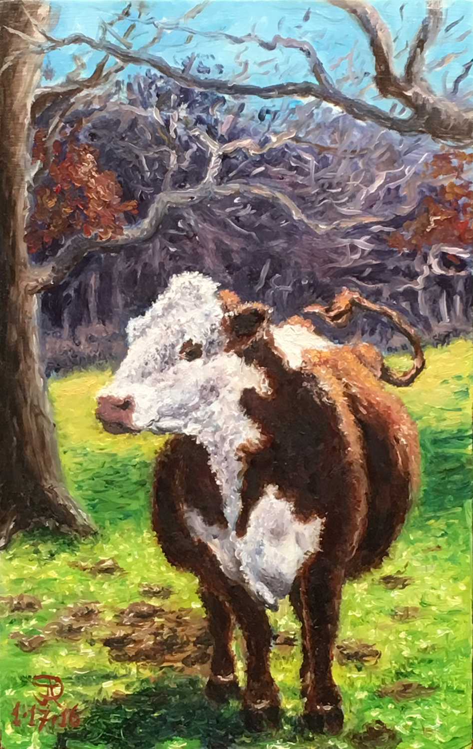2016-0117-JP Powel-Oil On Panel-9.5hx6w-Polled Hereford-w.jpg