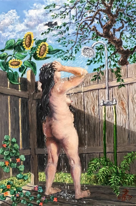 2017-1113-JP Powel-Oil on Panel-12x8-Ode to an Outside Shower-w.jpg