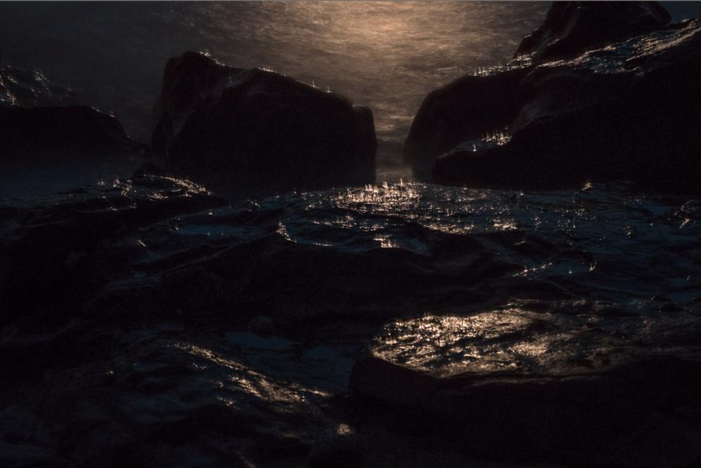 Moonlight Spray on Rocks, Allens Pond Sanctuary, S. Dartmouth, MA