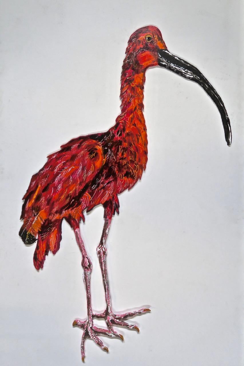 "Scarlet Ibis   2018 65""x38"" acrylic on gatorboard.jpeg"