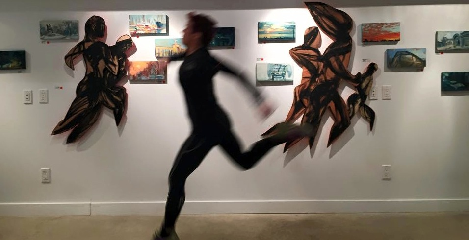 Tara and Annabelle came to the gallery on the last day of the show and took some pictures of me running by the 'run-bys' . These paintings are based on my experiences running through the city, marathon training in Toronto.