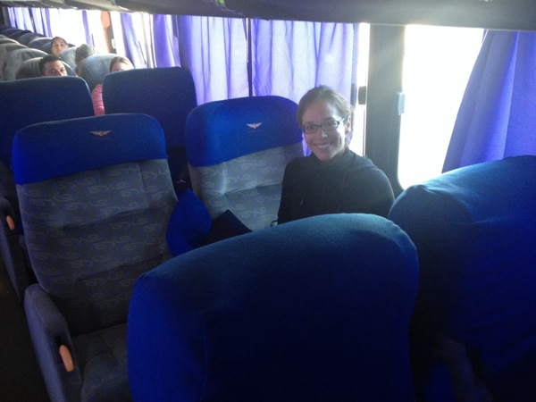 Our HUGE bus seats for the journey