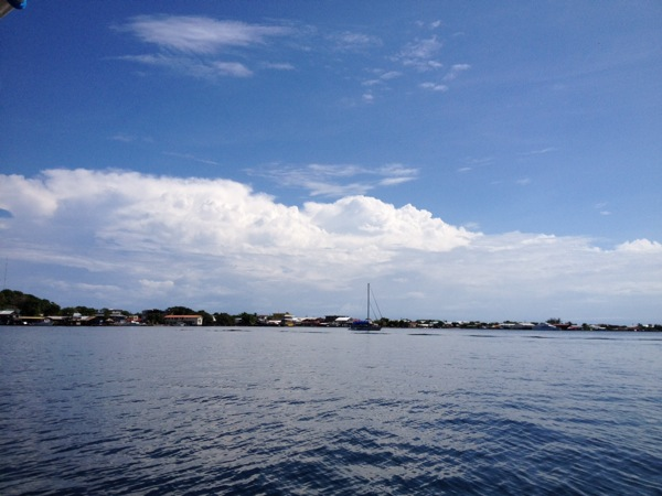Looking at Utila town from the boat
