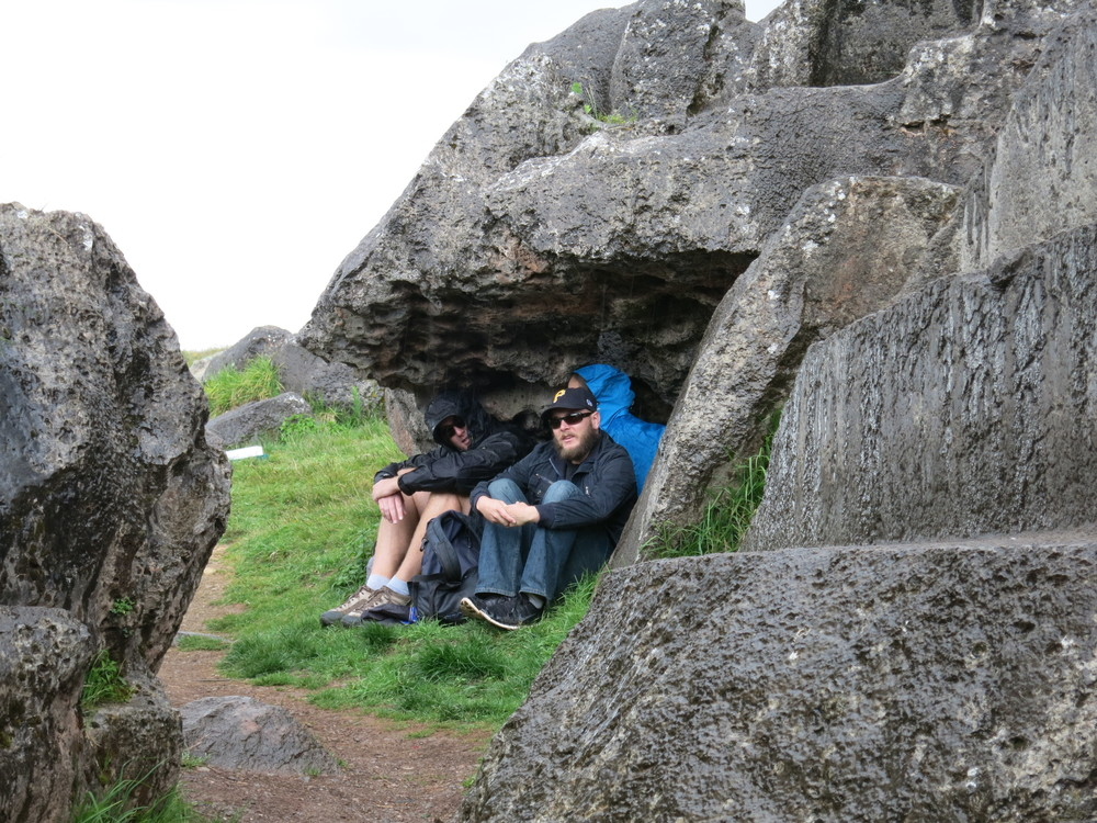 Waiting out the rain at Saqsaywaman