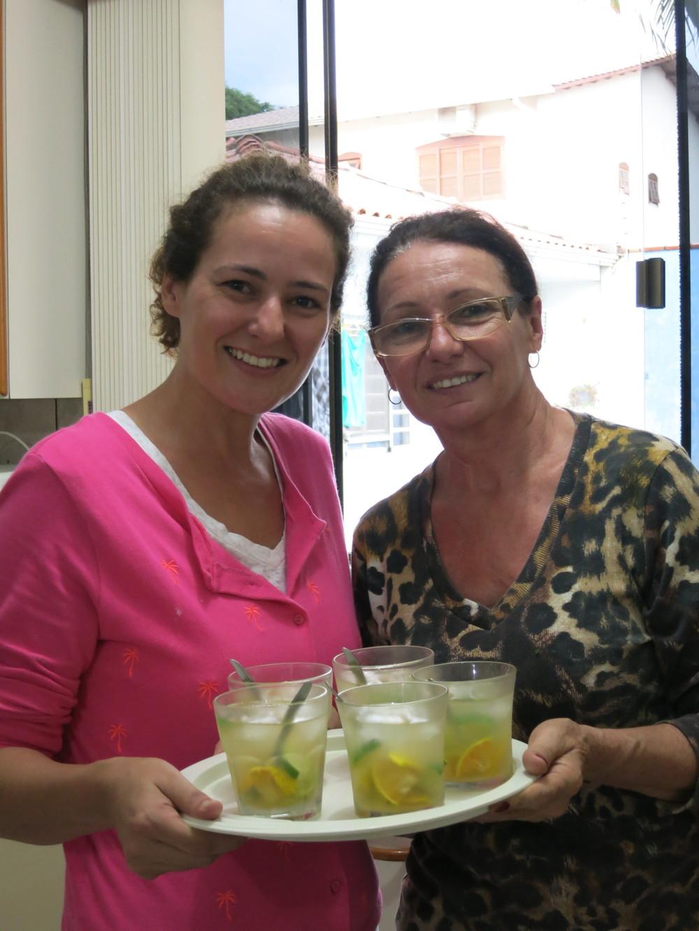 Simone and her mom with caipirinhas