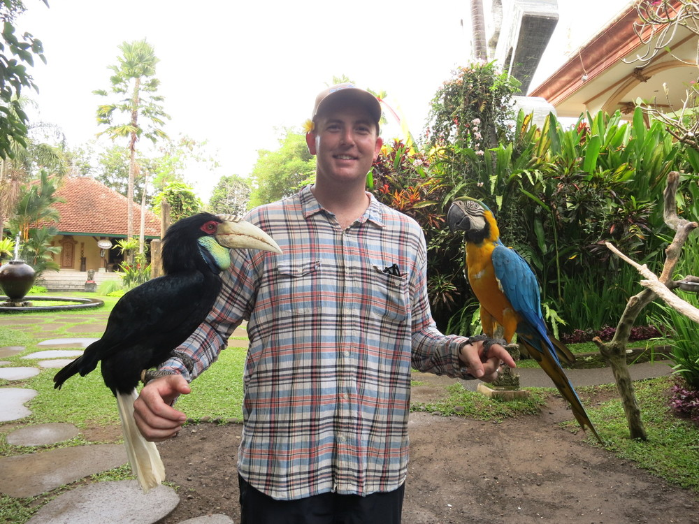 Eric with some of the resident birds