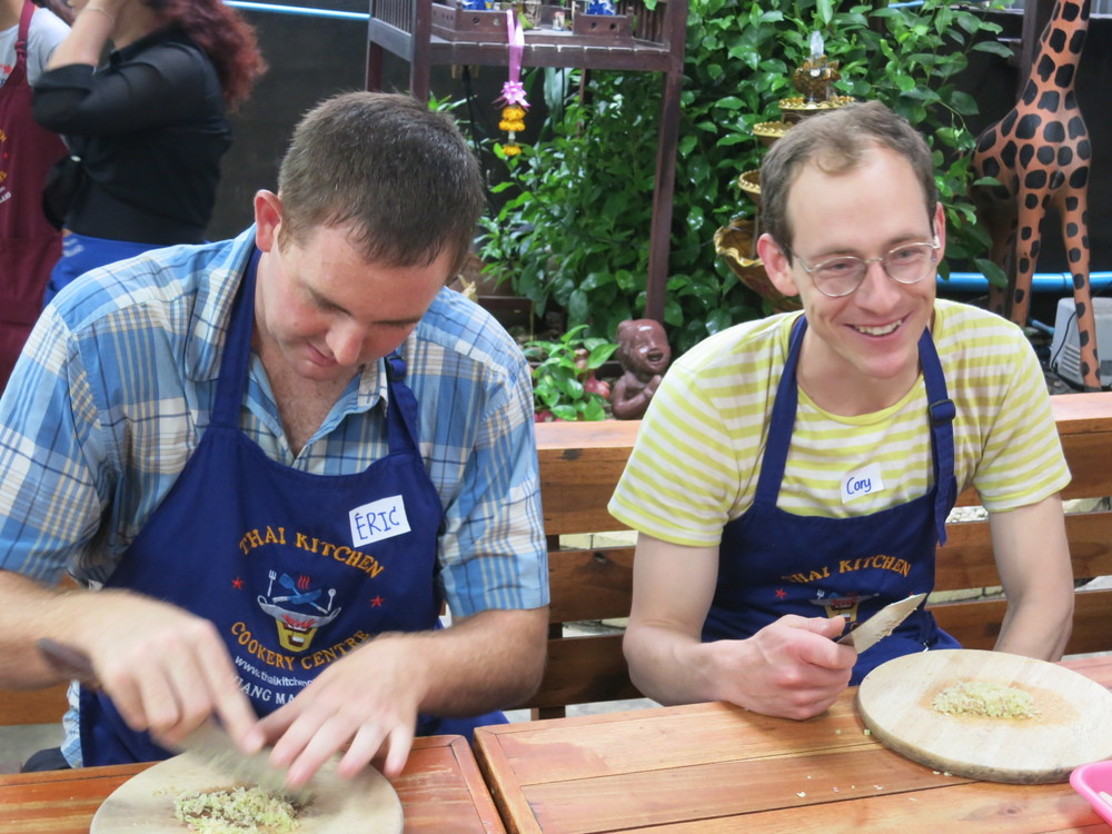 Eric and Cory chopping away