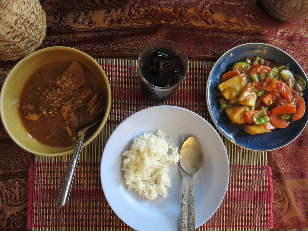 Massaman curry and stir fried veggies