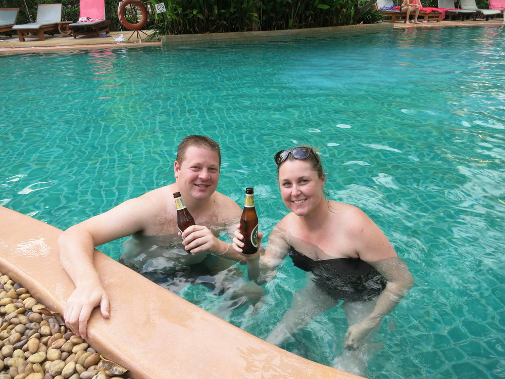Max & Kristin enjoying the pool-side life in Phuket