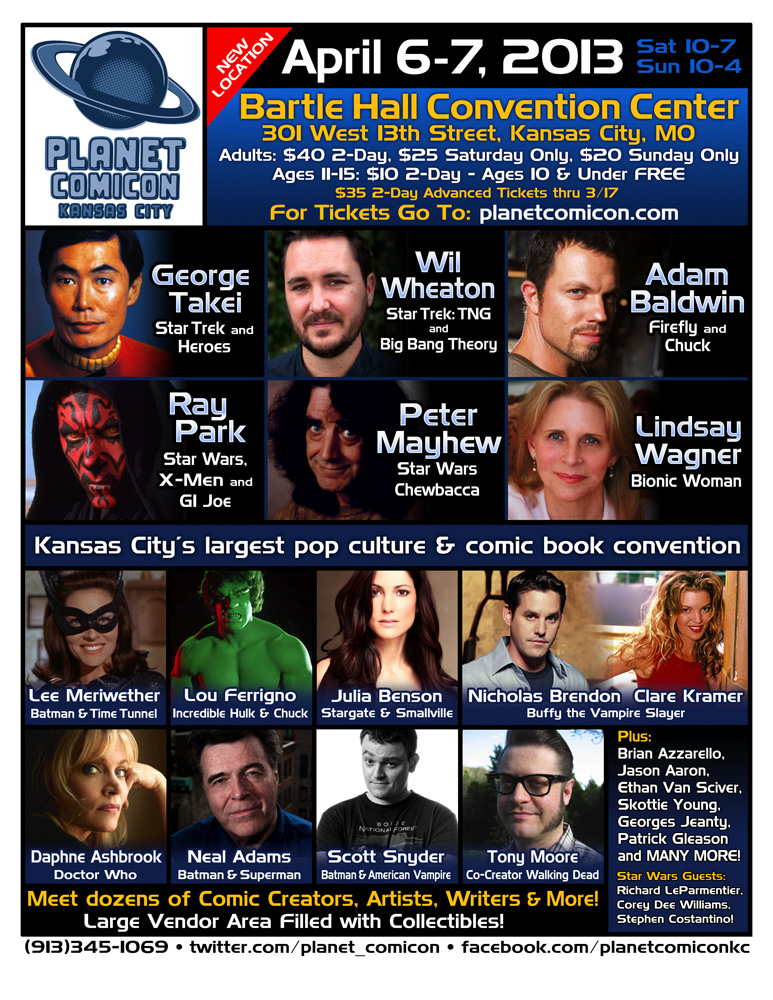 Planet Comiccon, this Saturday & Sunday in Kansas City, MO.