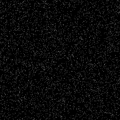 Randomly distributed particles on a 400 x 400 lattice.