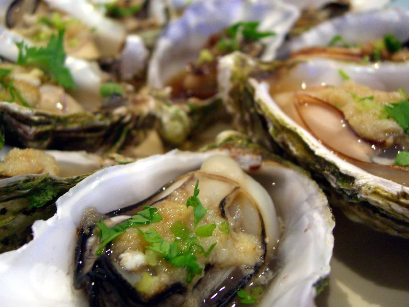 Oysters with horseradish and chives