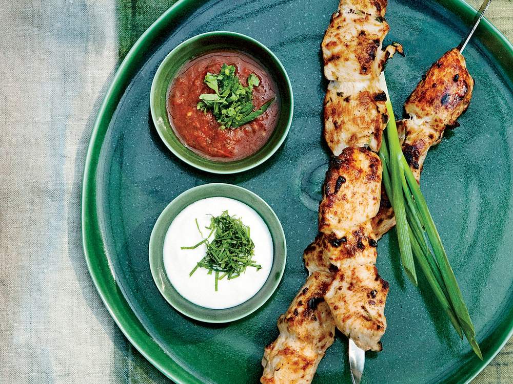 Tomato and Cilantro Marinated Chicken Shashlik