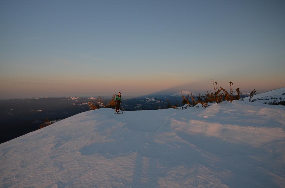 Sunrise, Helens, and Adams' Shadow