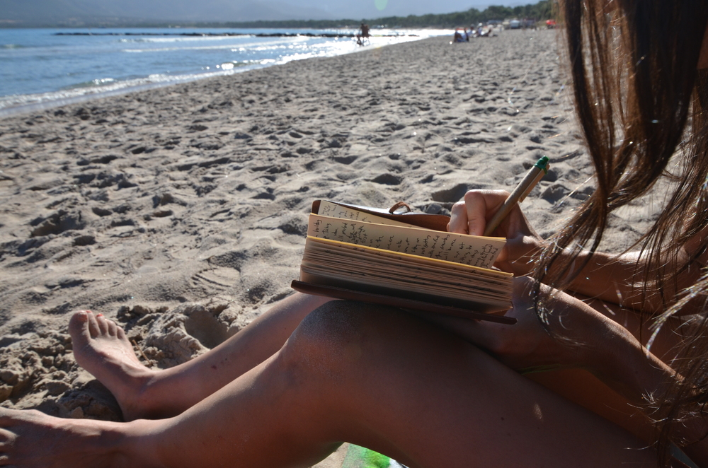Writing the 9/15 journal entry and soaking up the sun