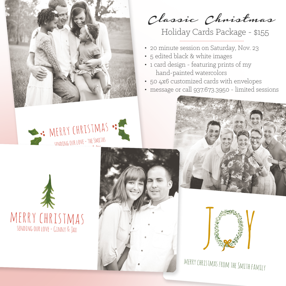 christmas mini sessions for dayton tipp city troy ohio with christmas cards