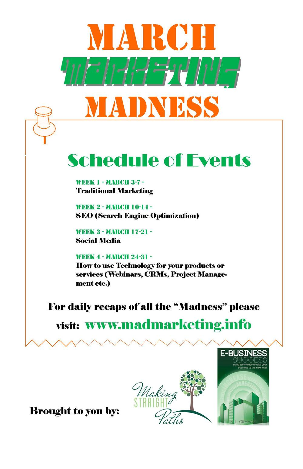 March Marketing Madness Flyer - Schedule of events.