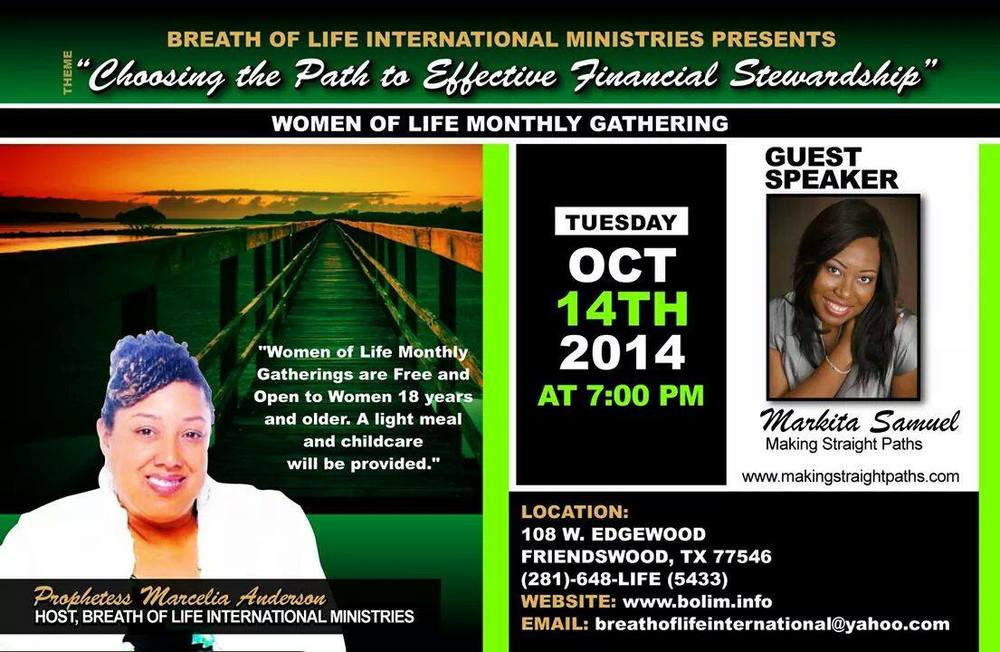 Flyer of Making Straights Paths' Markita Samuel speaking at a Women's Group.