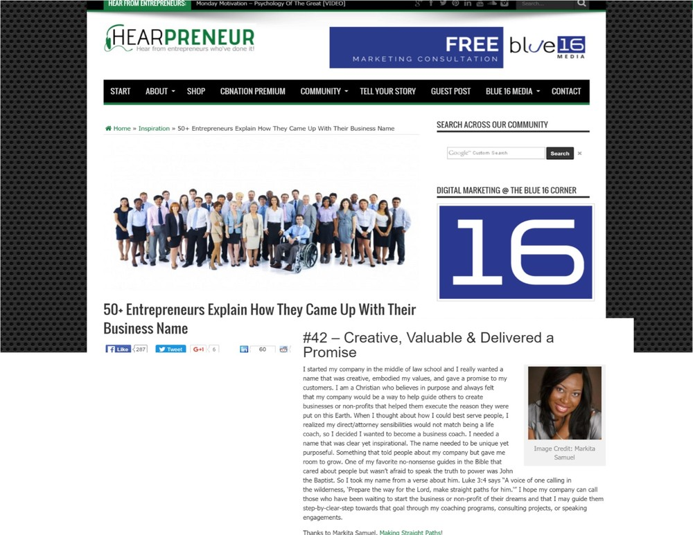 Making Straight Paths being featured on Hearpreneur