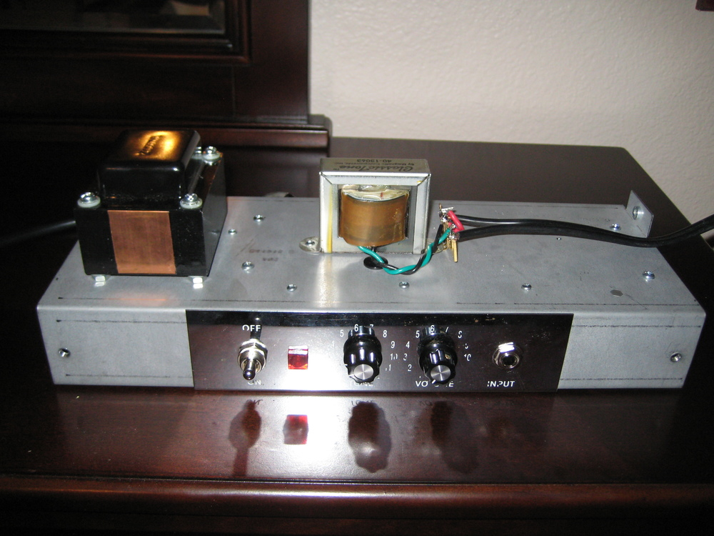 This amp was once a Fender Pro Junior. I stripped it down and built a single channel version of a 1624T Supro. Great overdrive from those 6973 power tubes!