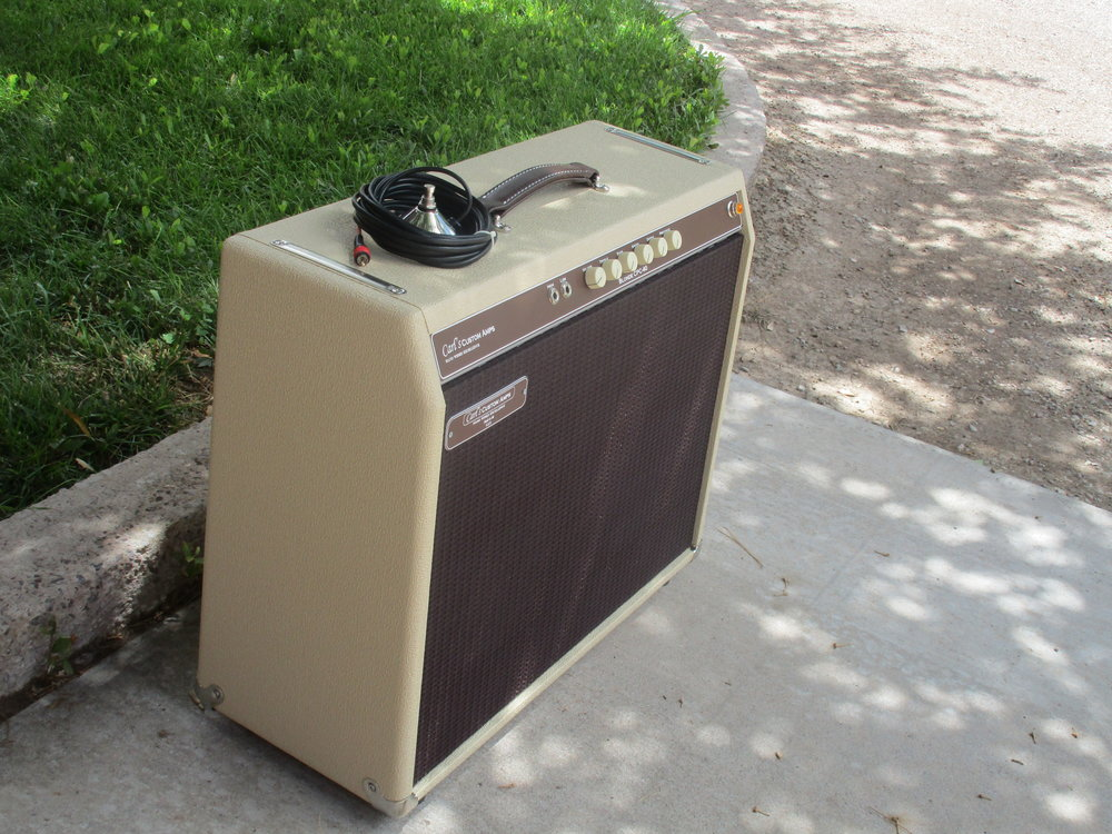 Blonde 40 with Trem in a 2X10 Cab and Oxblood grill cloth by request!