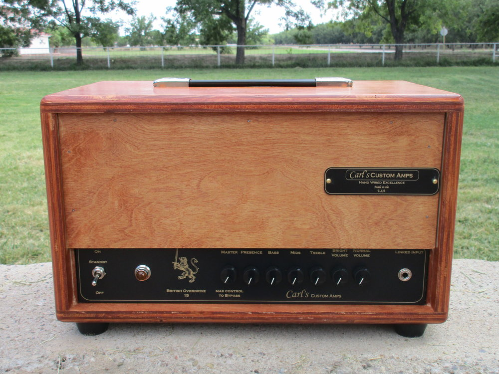 "This amp is the protoype for the the British Overdrive Series. Housed in a plywood it got that great 60's Marshall crunch! the buyer wrote:  ""This is the amp I've been looking for, sounds amazing, a 15 watt plexi with a master volume. 2nd amp I've bought from Carl, I hope he gets as big as he deserves to be one day..and glad i bought a couple amps before he gets discovered and is able to charge twice as much."