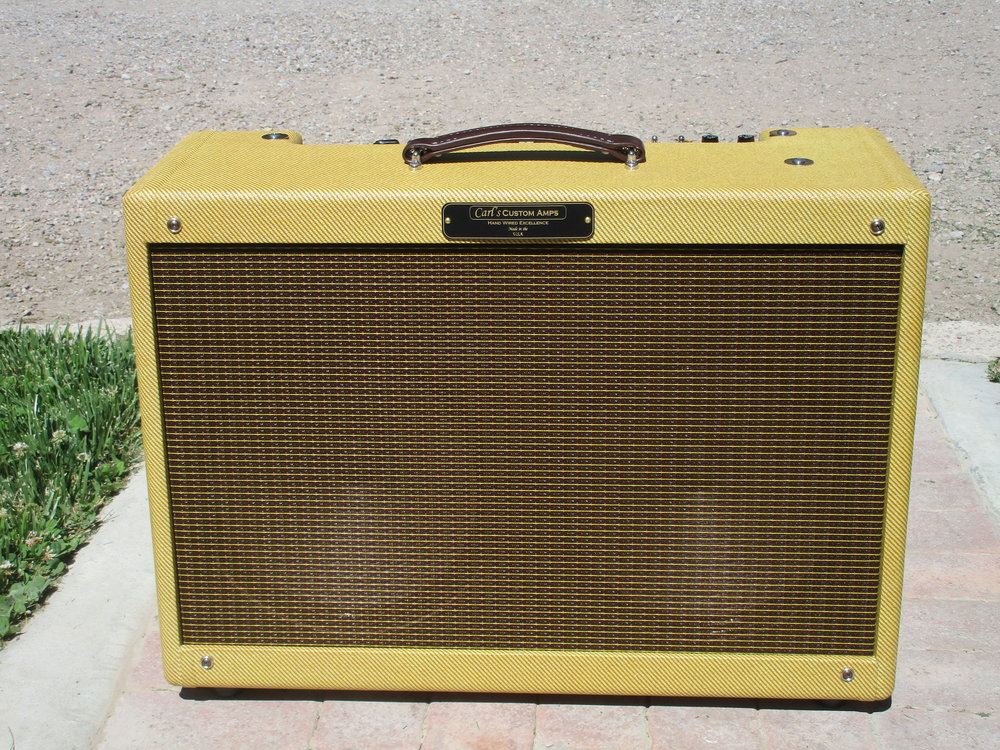 My CPC-40T Tweed Bassman Amp but in a 2X12 Combo Format. Lots of volume and punch with special sweetness from the Weber Alinco 12A150Ts in there.