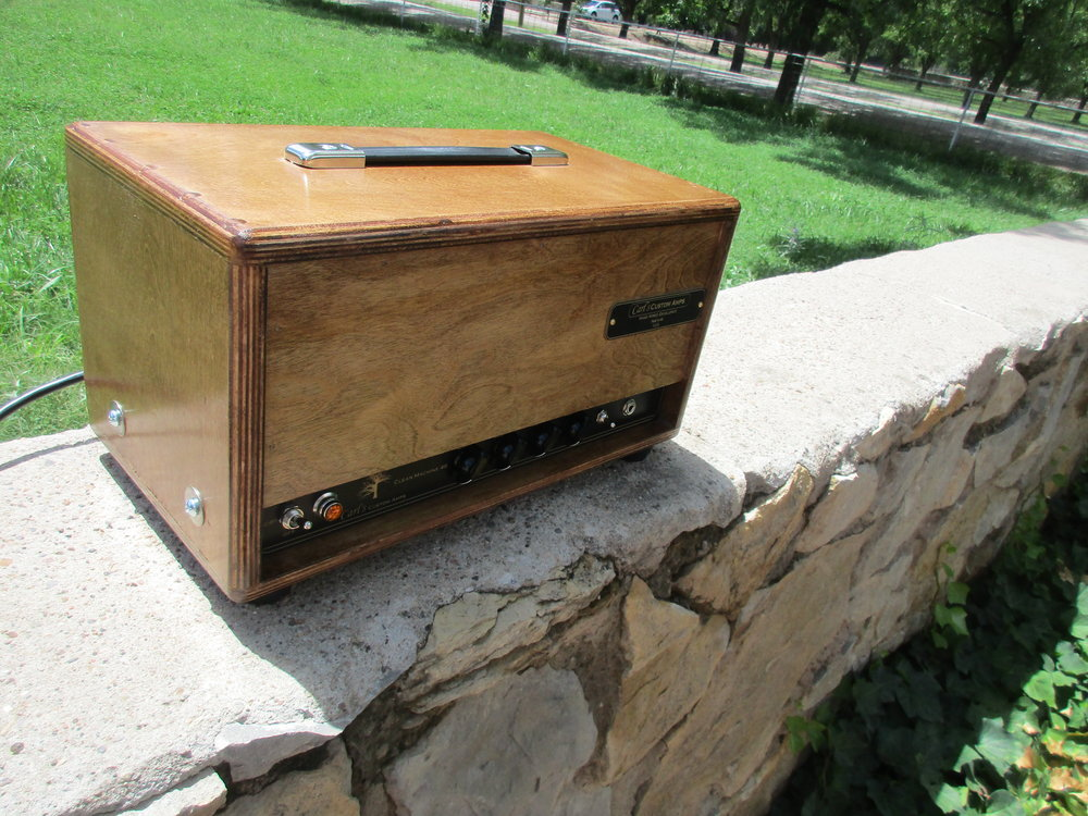 The Clean Machine 40 inwooden cab. I built this custom version of the Fender Blackface Bassman's instrument with added touch sensitivity and mids control. It's great for blues, country, or rock and takes pedals nicely!