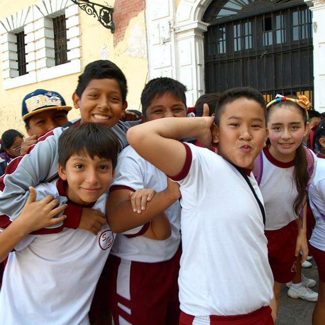 School kids waiting to tour the San Francisco Monastery have fun posing for the camera. Lima, Peru. @afarmedia @ustoanyc #afarmedia #traveltogether #traveldeeper #natgeotravel