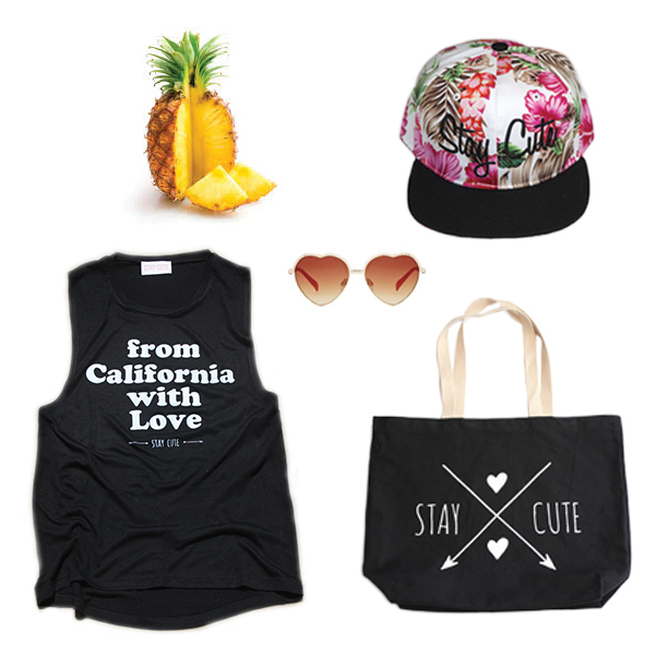 California Love muscle tank, $28   Stay Cute Hawaiian snapback $34  Jumbo Tote $24