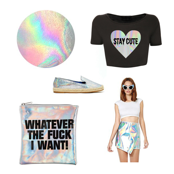 STAY CUTE LOGO HOLOGRAM CROP TEE, $28  UNIF META SKIRT, $125 NASTYGAL.COM  MARRIED TO THE MOB CLUTCH, $25  JEFFREY CAMPBELL ABIDES FLAT, $132 NASTYGAL.COM