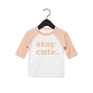 f09d6f2a365 stay cute peach toddler baseball tee