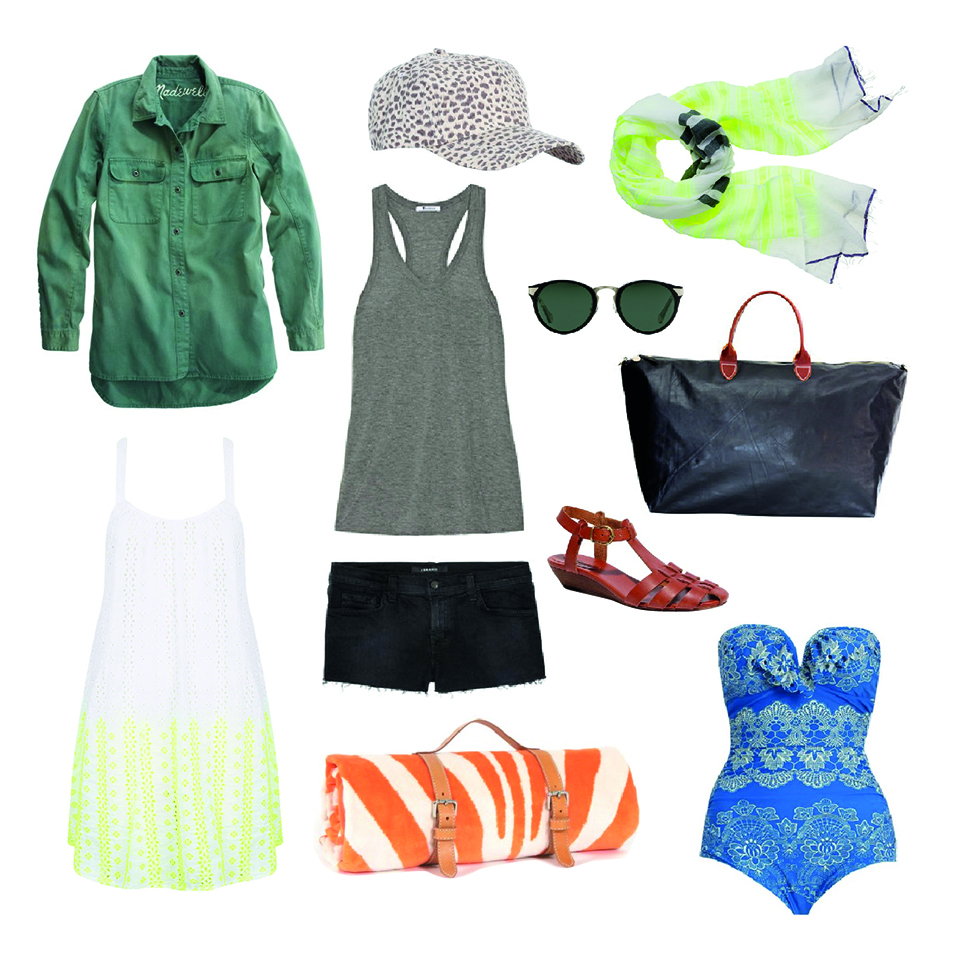 Tomboy Workshirt in Spruce,  Madewell  / The Andie Mini Wedge Sandal in Kindling,  Madewell  / Drifter Scallop Frill One Piece Swimsuit,  Zimmerman  / Zebra Hide Beach Towel,  Zimmerman  / Cheetah Printed Cap,  Zimmerman  / LemLem Ishi Gauze Scarf,  JCrew  /  White Broderie Neon Cover Up,  Topshop  / Nera Sunglasses,  Raen Optics  / JBrand Denim Shorts,  NetAPorter  / T by Alexander Wang Classic Jersey Racer Back Tank,  NetAPorter  / The Weekender Bag in Black,  Clare Vivier