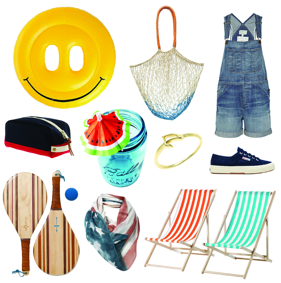 Smiley Face Pool Float by  Urban Outfitters , Rail and Warf Travel Kit /  JCrew , Hardwood Paddle Ball Set /  Terrain , Watermelon Drink Umbrella /  Etsy , Superga Cotu Classic Lace Up in Navy /  NeedSupply , Large Basket Tote in Blue /  NeedSupply , Lulu Frost Gold Code Ring /  JCrew , Stars and Stripes Scarf /  Svpply , The Shortall Stretch Denim Overalls /  NetAPorter , Mysingso Beach Chairs /  Ikea .