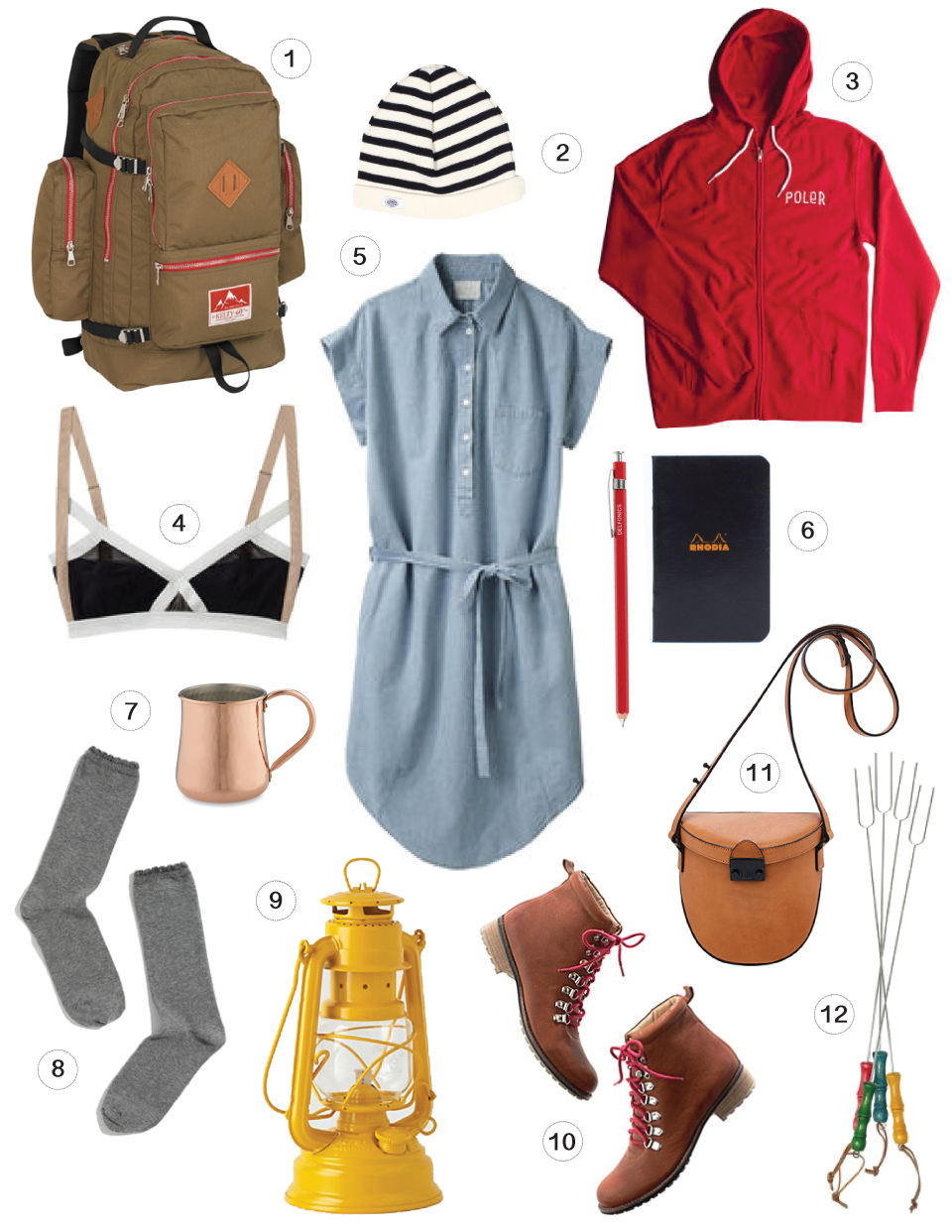 1 /  Wing Pack, Kelty, 2 / Armor Lux Striped Watch Cap, Dry Goods, 3 / Womens Venn Diagram Hoodie, Poler, 4 / La Garconne Bra, Polyvore, 5 / Chambray Shirtdress by Boy By Band Of Outsiders, Polyvore, 6 / Defonics Pencil, Jcrew - Rhodia Notebook, Needsupply, 7 / Cooper Mug, Williams Sonoma, 8 / Lisa B. Scallop Edge Trouser Socks, Madewell, 9 / Yellow Railroad Lantern, Tydepool, 10 / Artika Boots by Matt Bernson, Polyvore, 11 / Shooter Bag, Loeffler Randall, 12 / Marshmallow Roasting Set, Target.