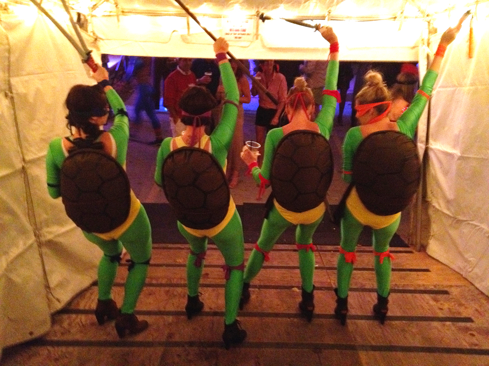 ... Teenage Mutant Ninja Turtles! We made the costumes ourselves and it really came together. We had the whole cast with us too making the night super fun! & TBT: Last Halloween. u2014 JAC