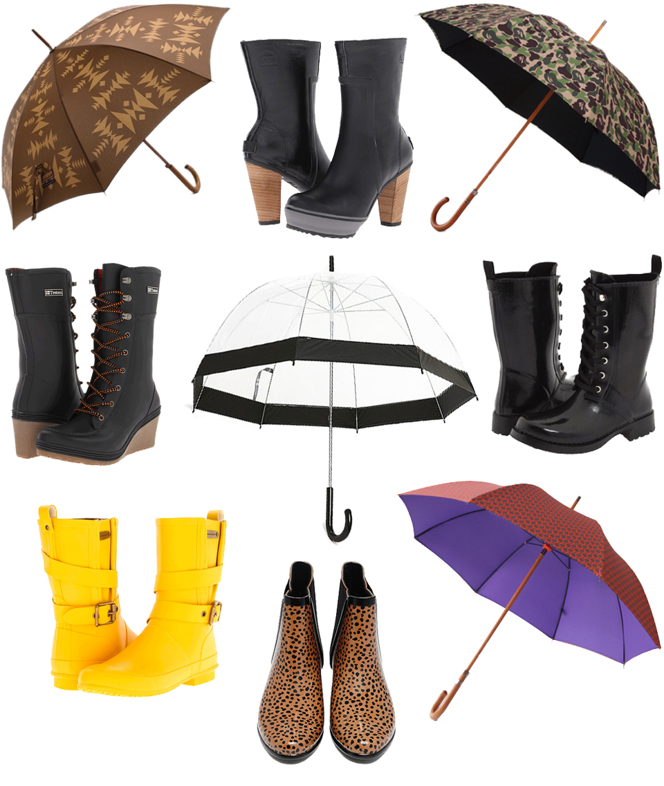 The Portland Pendleton Collection Ponderosa Umbrella /  Sorel Medina Tall Rain Boots / London Underground Mr ABC Camo Umbrella / Tretorn Plask Lace Up Rain Boots / Urban Outfitters Bubble Umbrella / Michael Kors Stow Lace Up Rubber Boots / Burberry Belted Rain Boots / Loeffler Randall LR Rain Slip On / London Underground Umbrella