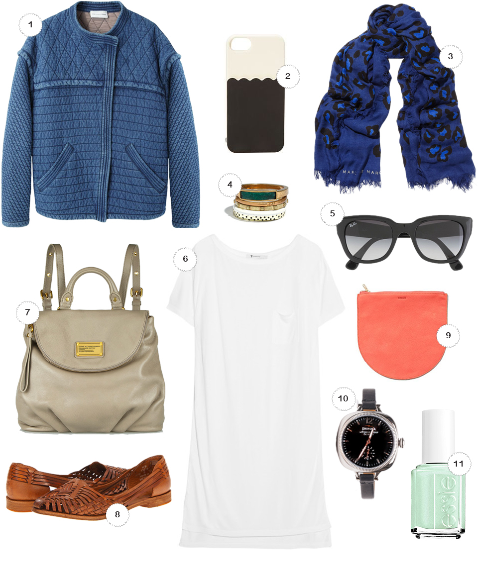 1 // Isabel Marant Etoile Kandisa Quilted Denim Jacket, La Garconne 2 // Kate Spade Scallop Pocket Phone Case, Zappos 3 // Marc By Marc Jacobs Sasha Leopard Scarf, NetAPorter 4 // Playlist Stacking Rings, Madewell 5 // Ray-Ban Thick Cat Eye Wayfarer Sunglasses, Jcrew 6 // Alexander Wang Jersey T-Shirt Dress, NetAPorter 7 // Marc By Marc Jacobs Classic Q Mariska Backpack, NetAPorter 8 // Frye Heather Huarache Sandals, Zappos 9 // Baggu Leather Pouch, Baggu 10 // Gomelsky 36mm Watch, NeedSupply 11 // Plucky Pistachio Shimmer Nail Polish, Essie