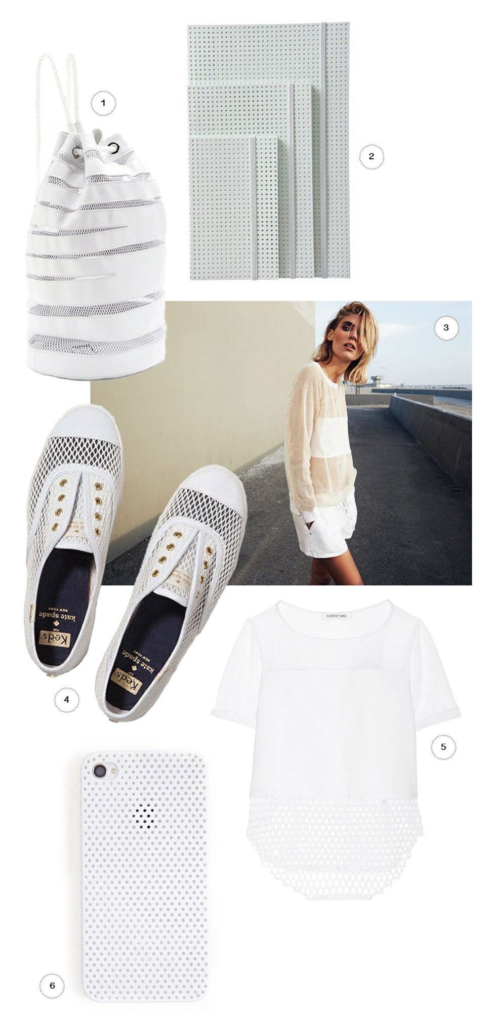 1// DKNY x Opening Ceremony leather,DailyCandy2// Mesh Notebooks, La Fabrika3// Spring Collection 2014, Sanctuary Clothing4// Kate Spade Champion Mesh Sneakers, Keds5// Elizabeth and James Rider Top, NetAPorter6// Perforated IPhone Case, NastyGal