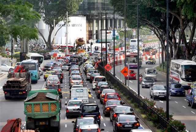 Traffic in Singapore.  Image Source: Bloomberg