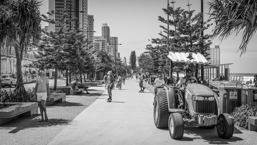 On the esplanade.