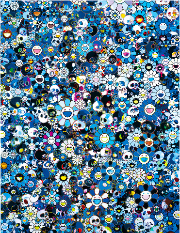 """Served as translator (English to traditional Chinese) and Chinese copy editor for the exhibition catalogue of """"Takashi Murakami: Flowers & Skulls,"""" published by Gagosian Gallery, Hong Kong, 2013.    TAKASHI MURAKAMI Blue Flowers & Skulls, 2012 Acrylic on canvas mounted on board 74 13/16 x 60 1/4 inches (190 x 153 cm) © Takashi Murakami/Kaikai Kiki Co., Ltd. All Rights Reserved."""