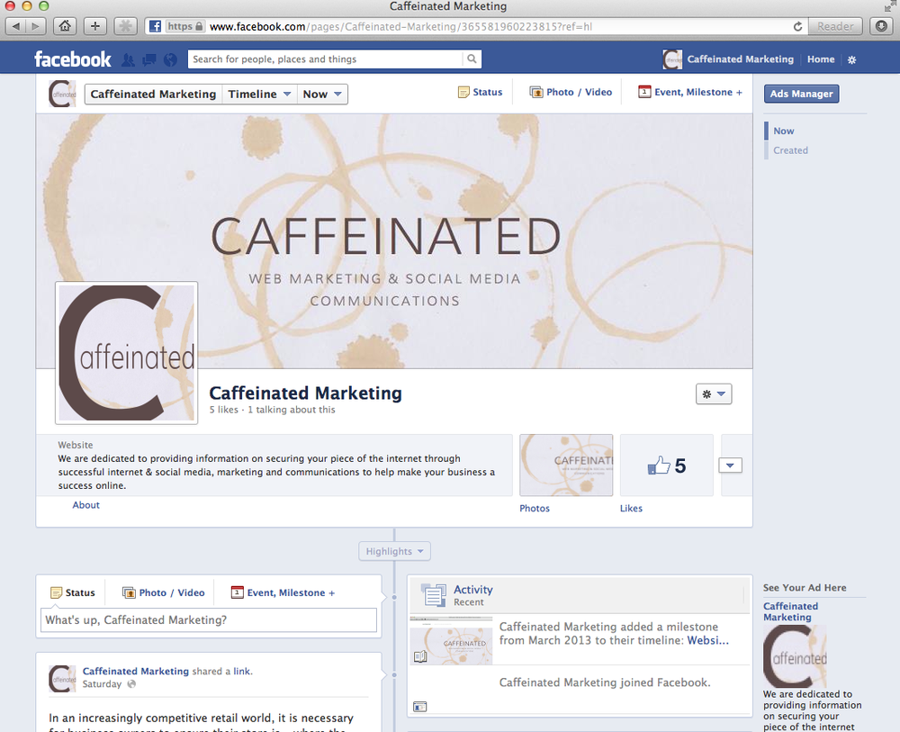 Caffeinated's Facebook Page
