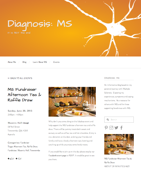 Diagnosis MS Events Page
